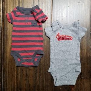 Carter's Preemie Solid Striped Onesies Set of 2